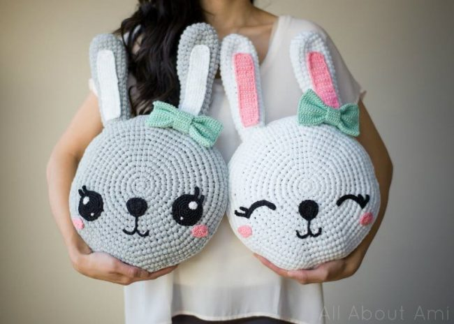 Adorable Spring and Easter Crochet Patterns Perfect For Easter Baskets: Snuggle Bunny Pillows Crochet Pattern from All About Ami