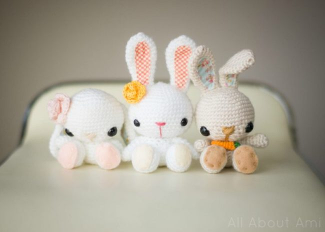 Adorable Spring and Easter Crochet Patterns Perfect For Easter Baskets: Spring Amigurumi Bunnies Crochet Pattern from All About Ami