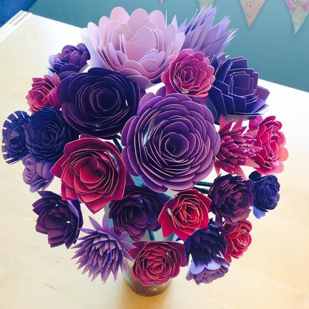 DIY Paper Wedding Bouquet And Matching Flower Girl