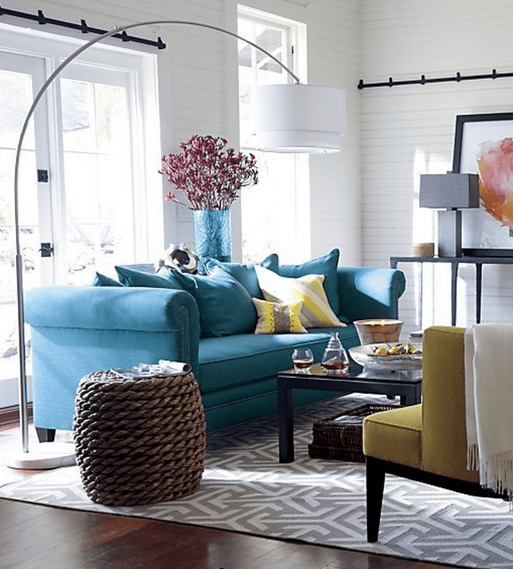 gray teal and yellow color scheme