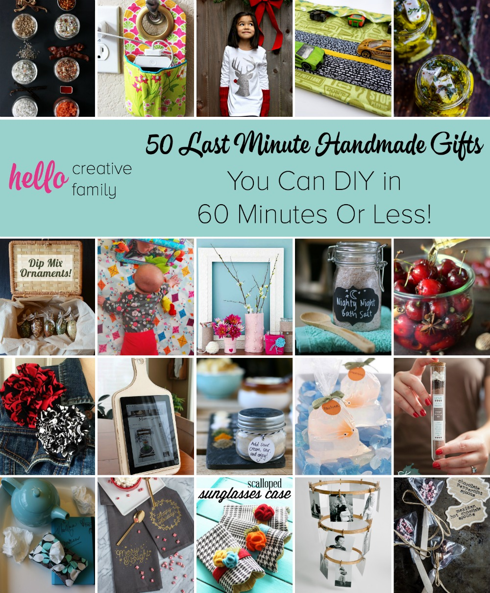 Stuck for a last minute gift? Here are 50 Last Minute Handmade Gifts you can DIY in 60 Minutes or less!