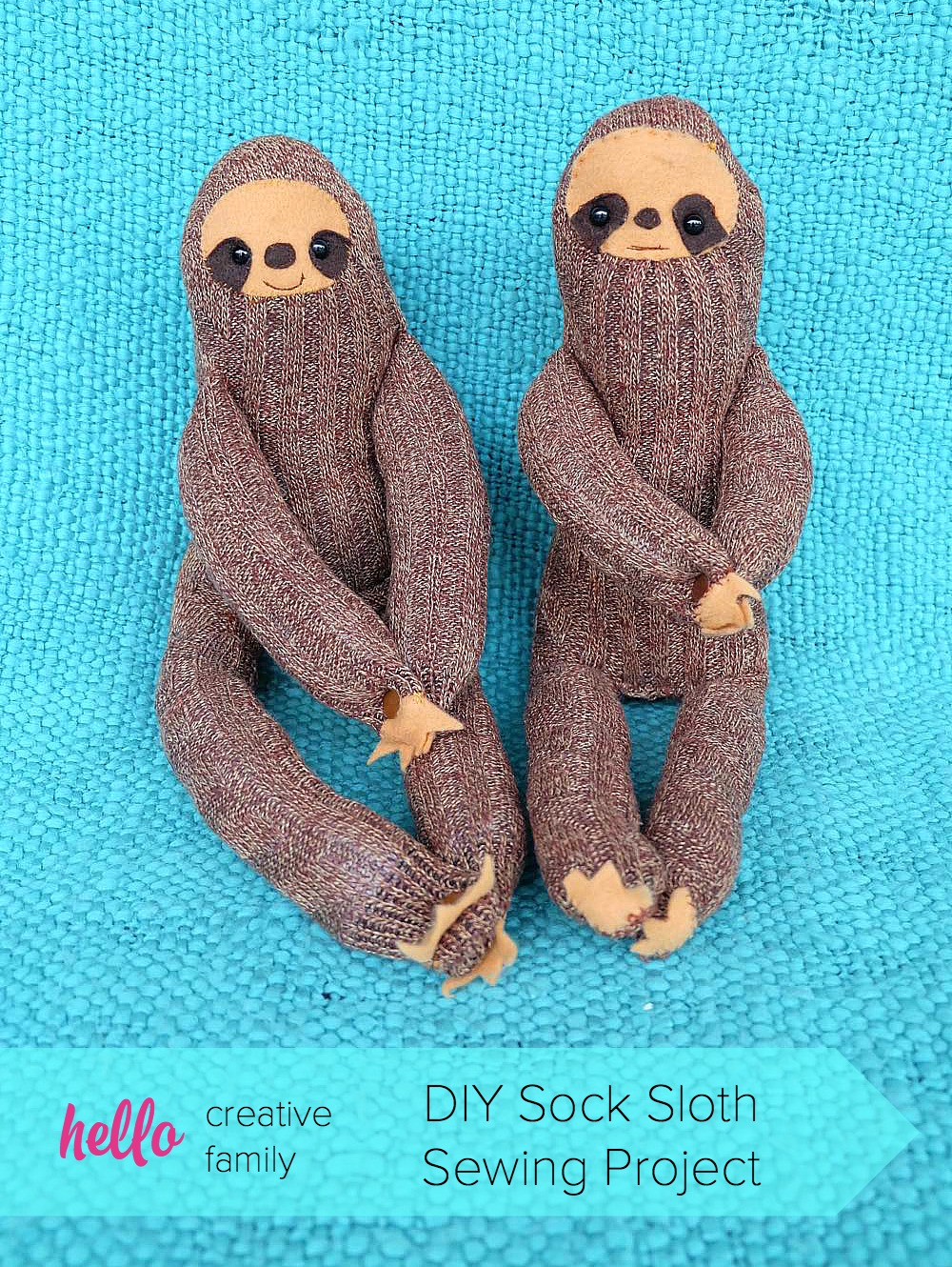 How sweet our these little DIY Sock Sloths? This would be the cutest handmade gift idea for a child or baby. Their hands have snaps so they can hang! DIY Sock Sloth Sewing Project on Hello Creative Family.