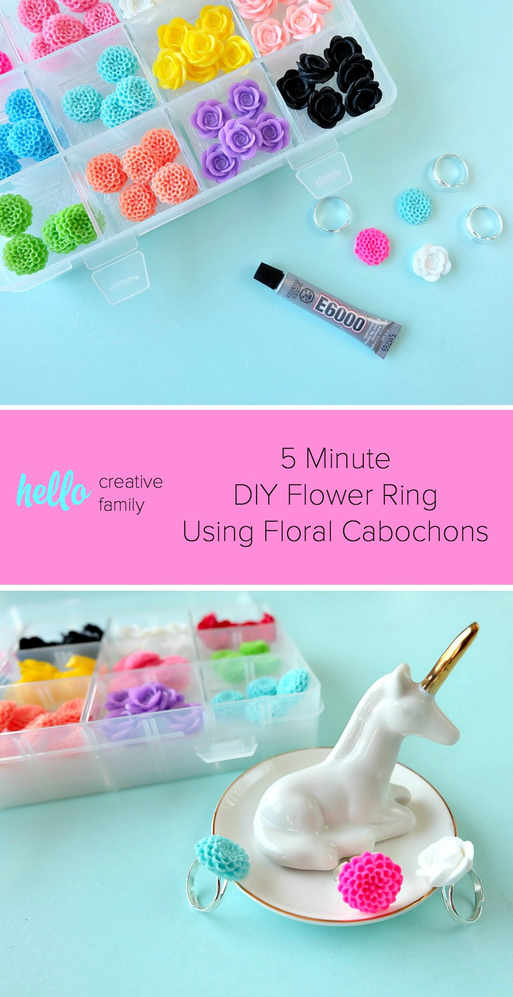 5 minutes is all it takes to make a beautiful DIY flower ring using floral cabochons! Bright & colorful these rings make a fun and easy handmade gift or party favor! Perfect for birthday parties, wedding showers, teacher gifts and friends who love to garden!
