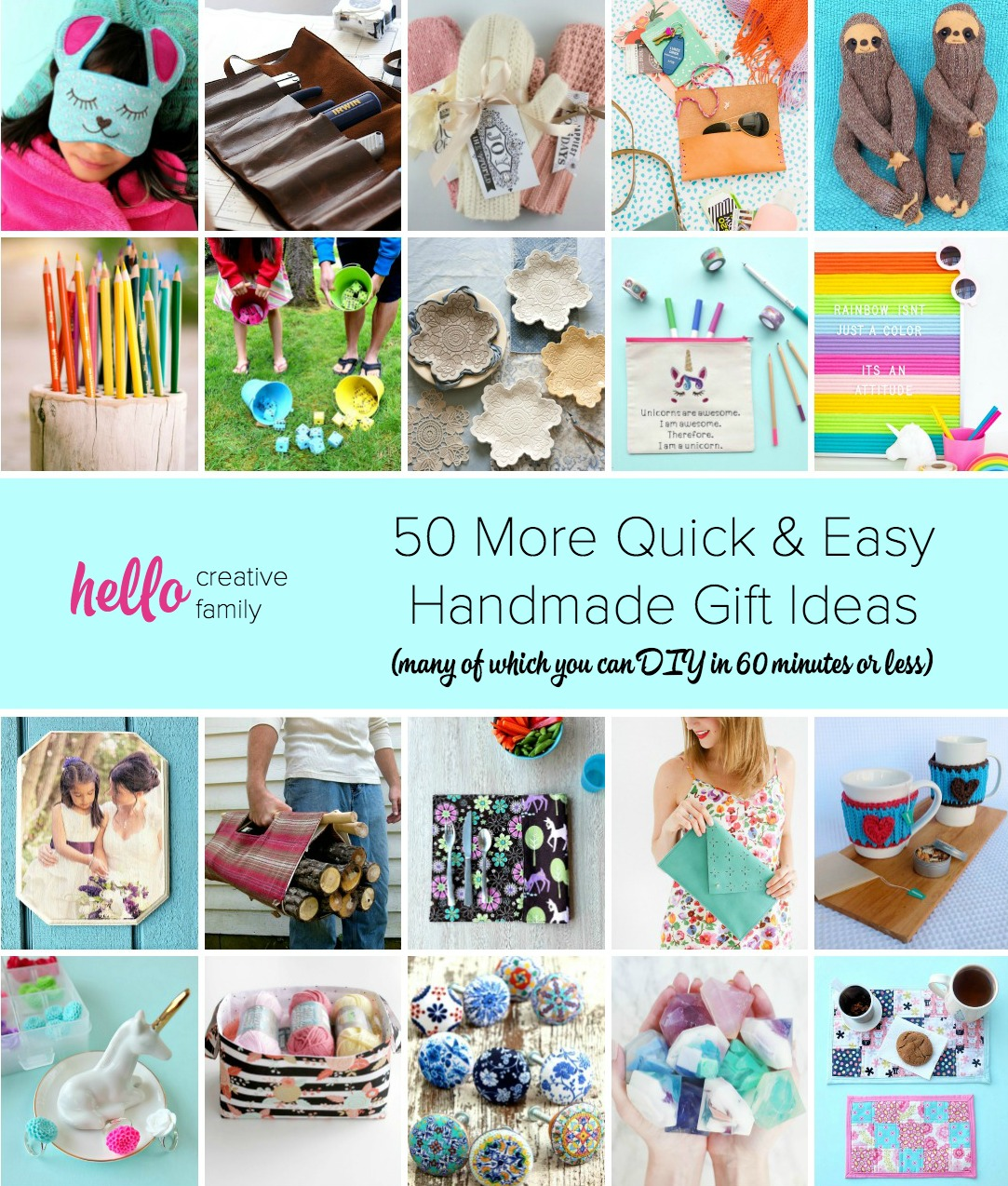 50 More Quick & Easy Handmade Gift Ideas (many of which you can DIY in 60 minutes or less)
