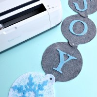 "DIY ""Joy"" Felt Winter Door Decoration + Cricut Maker Giveaway"