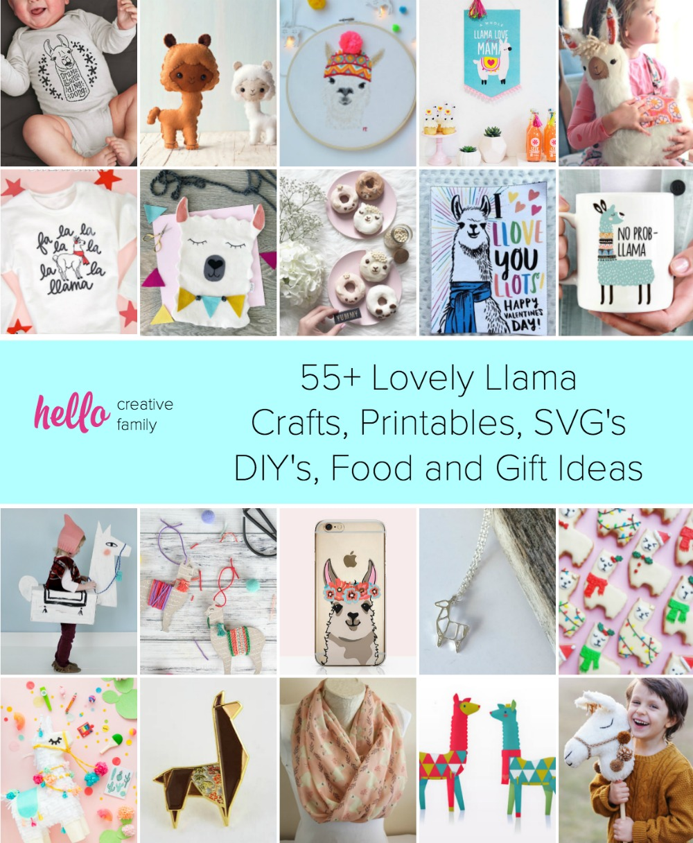 55+ Lovely Llama Crafts, Printables, SVG's DIY's, Food and Gift Ideas #Crafts #DIY #Printables #GiftIdeas #llama