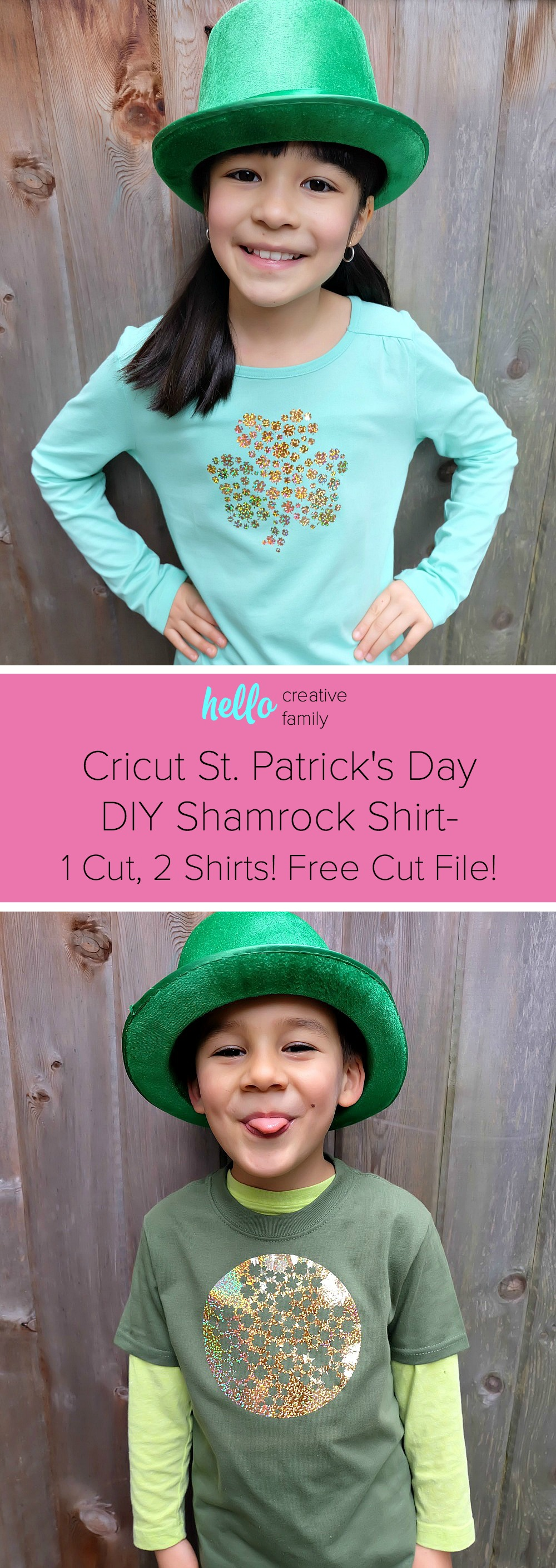Celebrate St. Patrick's Day in style with this adorable DIY shamrock shirt! Make this project using your Cricut Maker or Cricut Explore. With this unique design one cut can make two shirts! Includes free cut file! A fun shirt for kids or adults! #cricutmade #cricutmaker #cricutholiday #KidsClothes