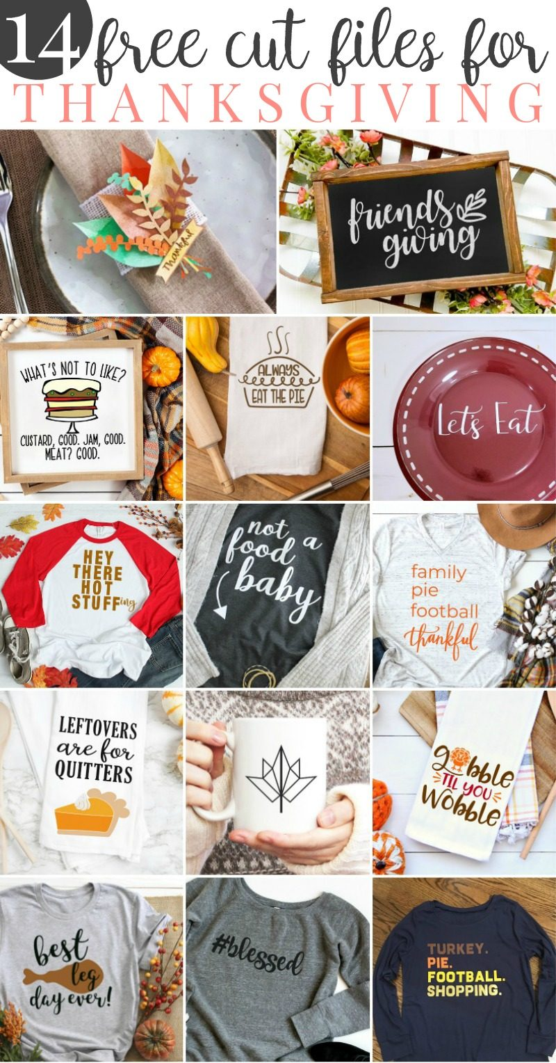 Pull out your Cricut or SIlhouette and celebrate thanksgiving in style! We are sharing 14 free SVG Files that are perfect for Thanksgiving including our own #Blessed file! Make an easy handmade gift or decorate for fall with a fun cutting machine project! #Thanksgiving #Cricut #Silhouette #CricutProject #FreeSVG