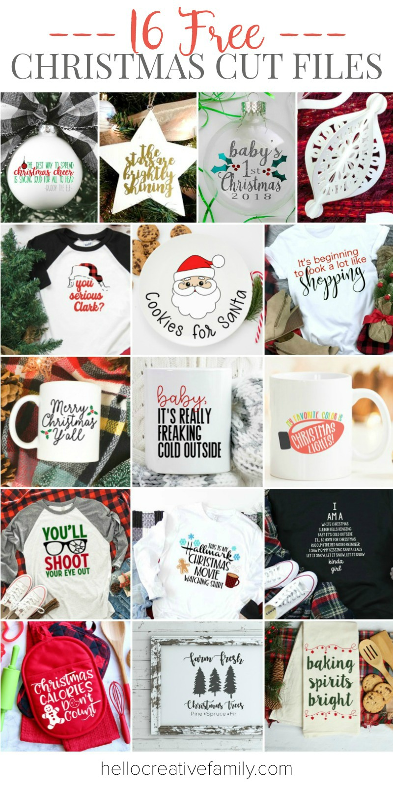 16 Free Christmas SVG Files to cut with your Cricut or Silhouette