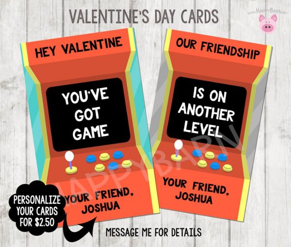 50+ Printable Valentines Day Cards: Arcade Game Printable Valentine Card from Happy Barn