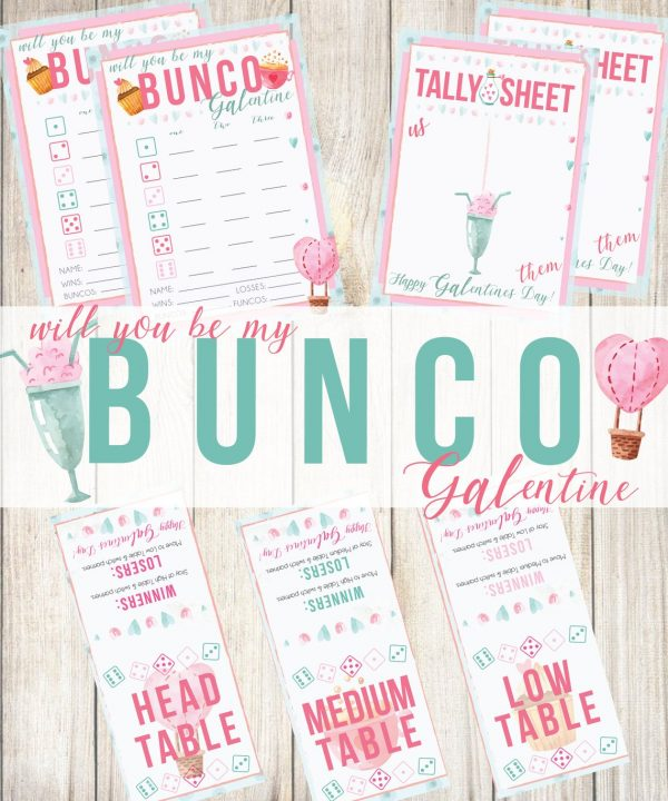 50+ Printable Valentines Day Cards: Bunco Galentine's Day Printable from Froelich Means Happy