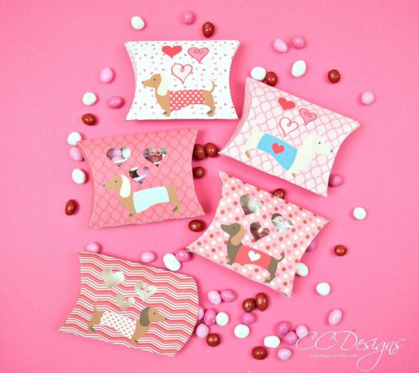 50+ Printable Valentines Day Cards:  Dachshund Pillow Box Candy Holder Printable Valentines from Catching Color Flies