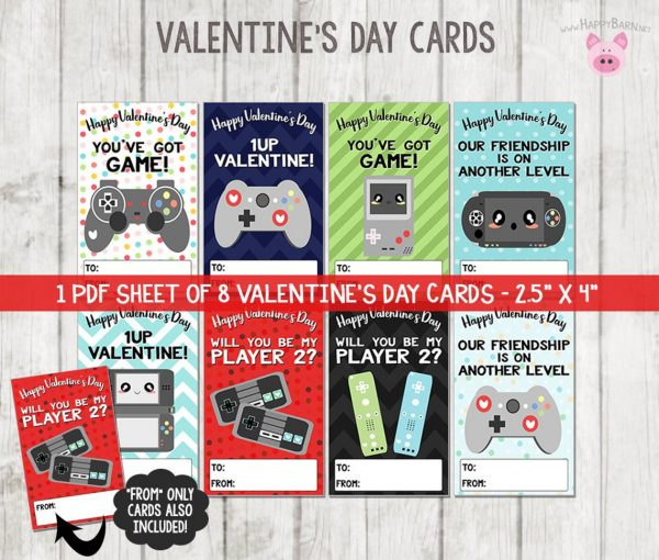 50+ Printable Valentines Day Cards: Gaming Printable Valentine's Day Cards from Happy Barn