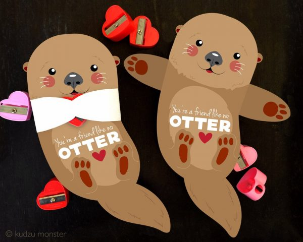 50+ Printable Valentines Day Cards: Otter Toy or Candy Holder Printable Valentine from Kudzu Monster