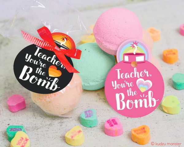 50+ Printable Valentines Day Cards: Teacher Bath Bomb Printable Valentine Card from Kudzu Monster