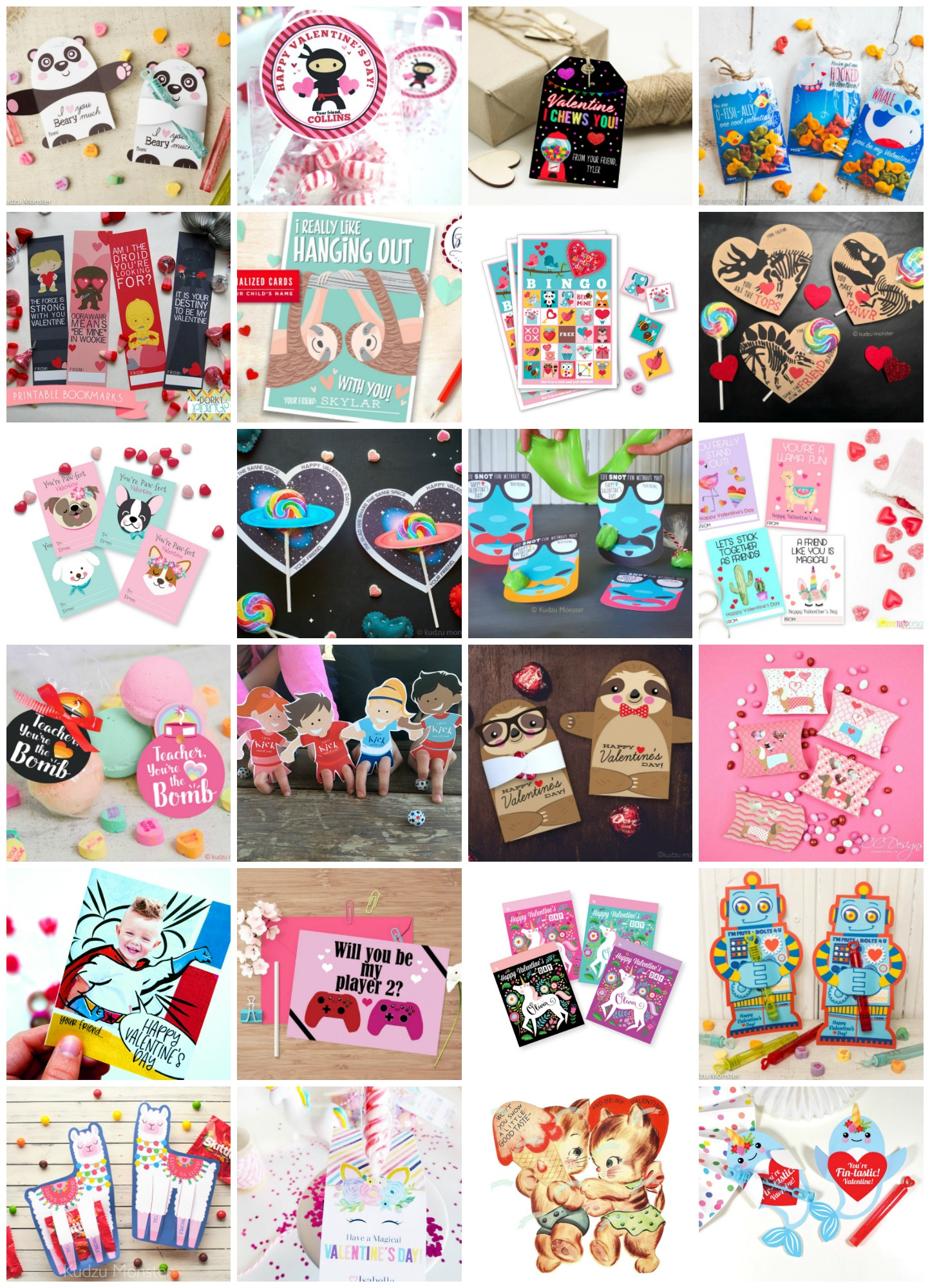 Looking for some last minute Valentine's Day cards? We've pulled together 50+ printable valentines that are so cute and creative! You're going to love them. Whether you are looking for sloths, llamas, otters, superheroes, narwhals, robots, unicorns, gaming or slime we've got an idea for you! Make easy handmade Valentine's Day Cards with these printables! #ValentinesDay #Printable #ValentineCard #Handmade