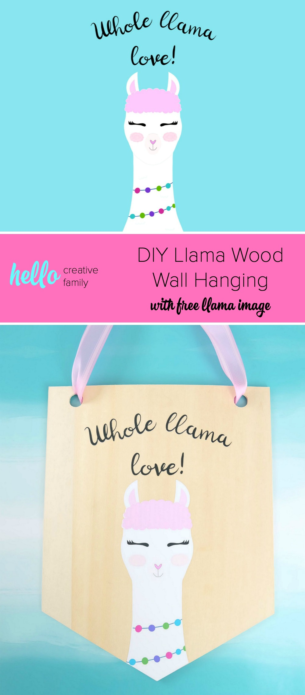 Learn how to cut basswood with your Cricut Maker and make this adorable DIY Llama Wood Wall Hanging featuring a cute Print and Cut llama and the quote Whole Llama Love. This craft would make a sweet handmade gift and would be perfect for decorating a girl's bedroom or as a fun front door decoration. Another amazing Cricut Project from Hello Creative Family. #Cricut #CricutMade #handmade #llama #girlsroom