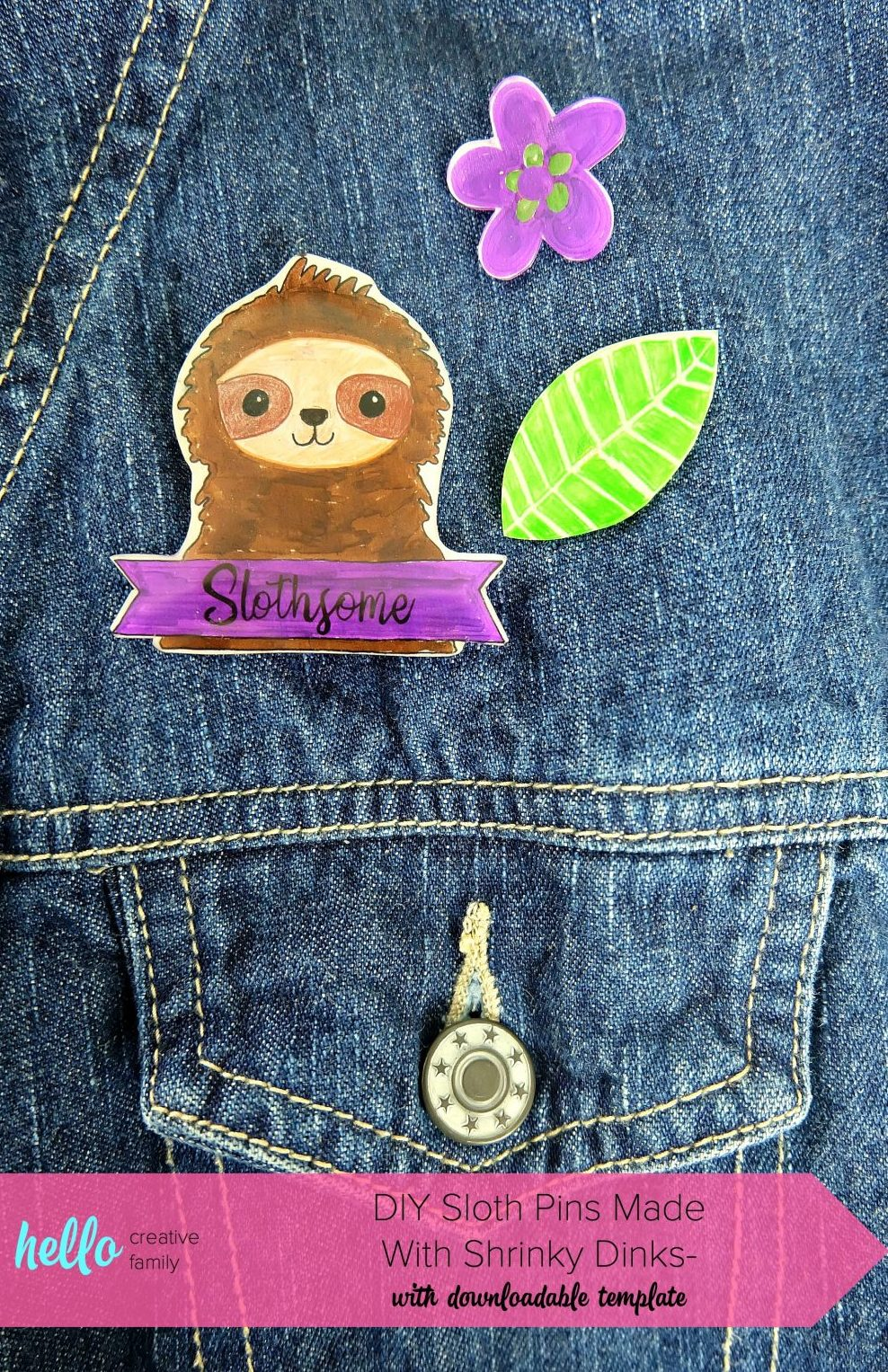 This fun craft will have you feeling nostalgic for the 80's! Learn how to make DIY Sloth Pins using Shrinky Dinks! Includes a free template for the sloth, flowers and leaves along with step by step photos and instructions! A super fun kids crafts that adults will enjoy too! Let's make flare pins! #Crafts #DIY #Sloths #shrinkydinks