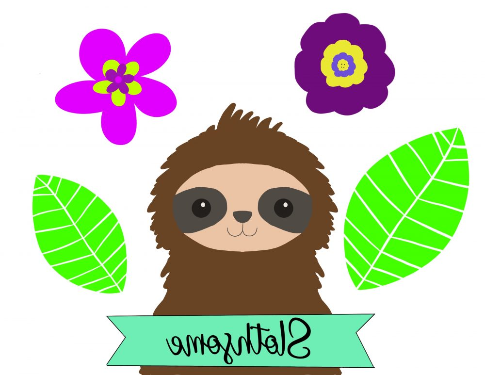 Sloth Template From Hello Creative Family Mirrored For Making DIY Sloth Pins. This fun craft will have you feeling nostalgic for the 80's! Learn how to make DIY Sloth Pins using Shrinky Dinks! Includes a free template for the sloth, flowers and leaves along with step by step photos and instructions! A super fun kids crafts that adults will enjoy too! Let's make flare pins! #Crafts #DIY #Sloths #shrinkydinks