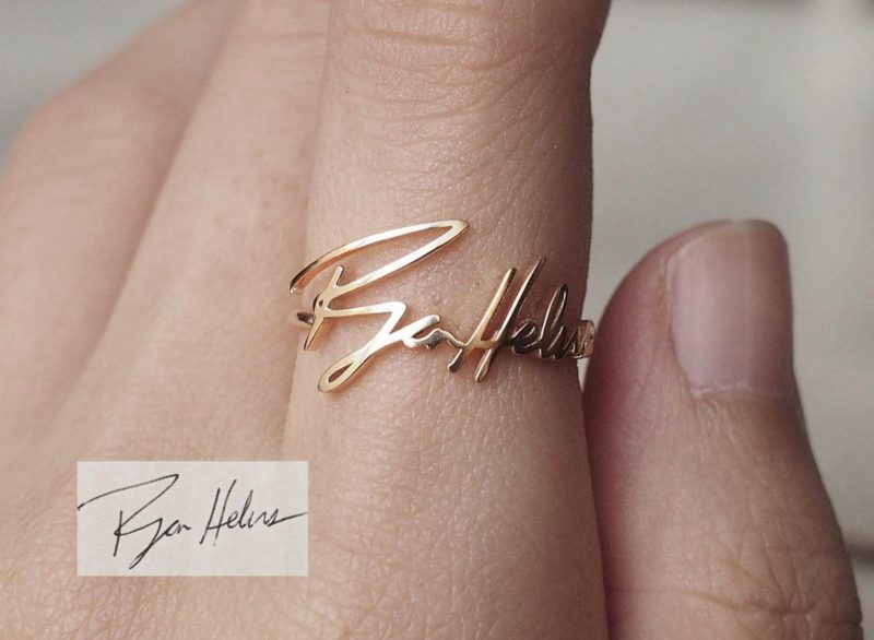 Shop Handmade Mother's Day Gift Ideas For Mom: Actual Handwriting Ring from Grace Personalized