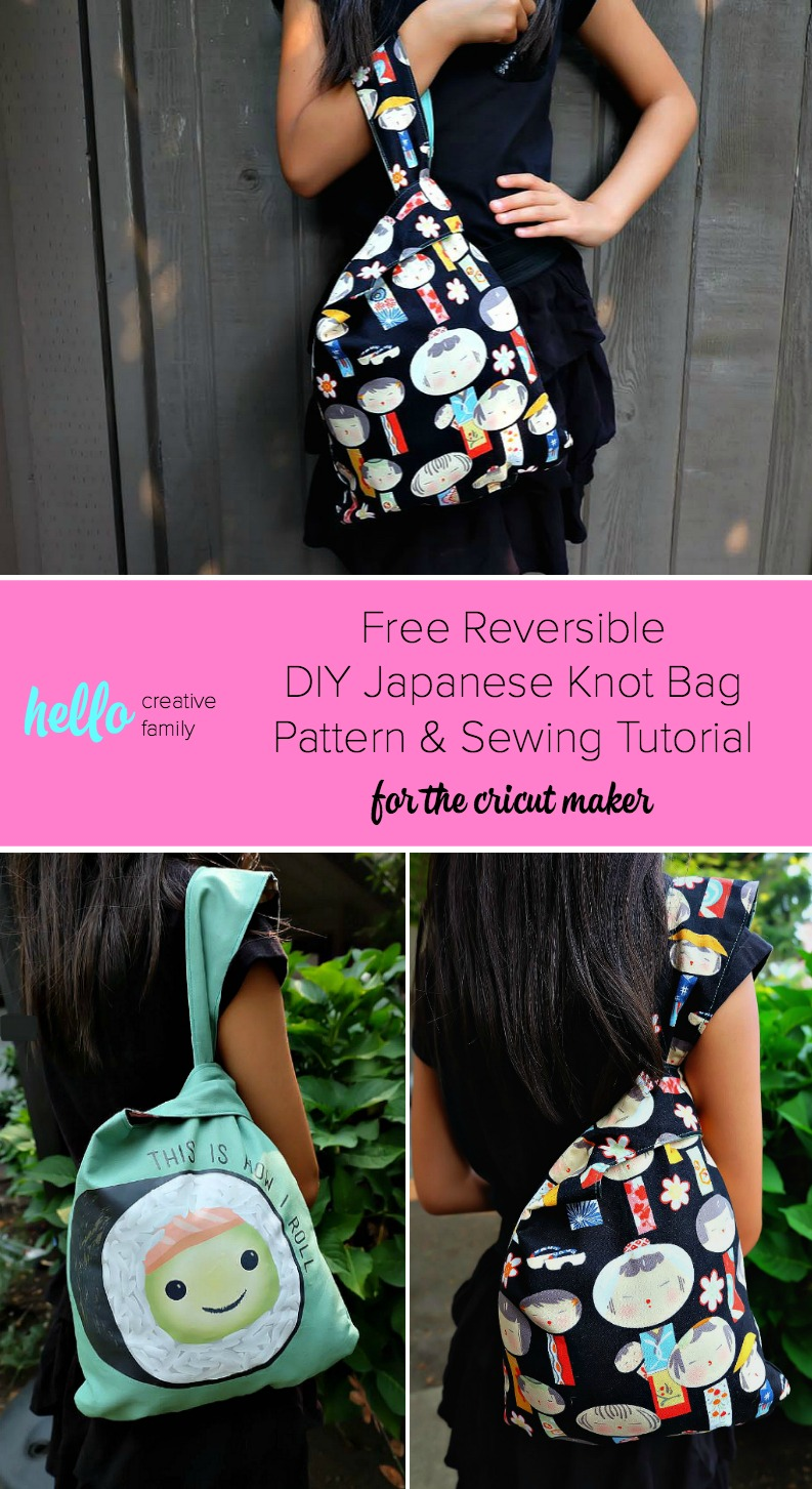 Free Reversible DIY Japanese Knot Bag Pattern & Sewing Tutorial for the cricut maker