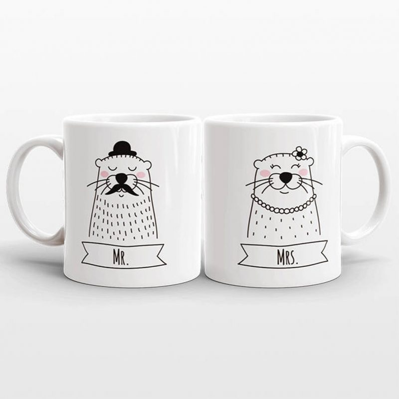 Shop Handmade Mother's Day Gift Ideas For Mom: Mr And Mrs Mugs Animal Mugs from Happy Cat Prints Co (Comes in a ton of different animals including otters, sloths, pandas and llamas!)