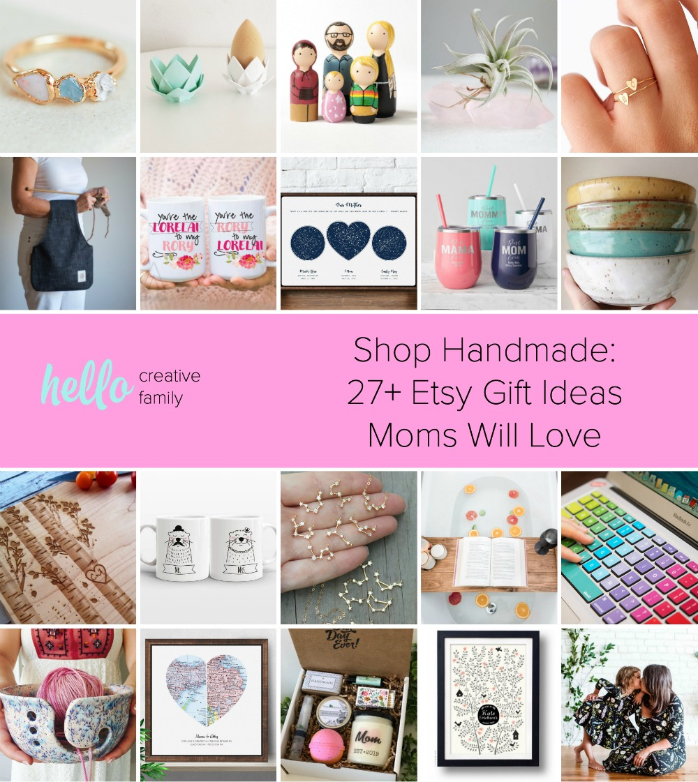 Shop Handmade: 27+ Etsy Gift Ideas Moms Will Love- Looking for an amazing Mothers Day, birthday or Christmas gift for mom? This Mothers Day Gift Guide is full of one of a kind, personalized gifts from Etsy sellers that moms will love! #Handmade #ShopHandmade #MothersDay #Etsy