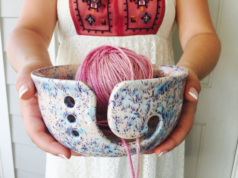 Shop Handmade Mother's Day Gift Ideas For Mom: Pink Ceramic Yarn Bowl from Creativity Happens