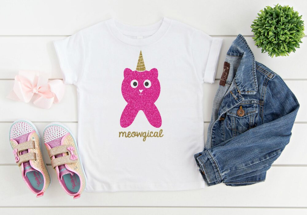 We're sharing 14 Free Unicorn SVG Files including our very own Meowgical Caticorn cut file. So pull out those Cricuts and Silhouettes and craft up an easy project! Perfect for unicorn themed birthday parties, unicorn shirts and unicorn room decor! #Cricut #Silhouette #unicorn #CutFile #FreeSVG #SVG
