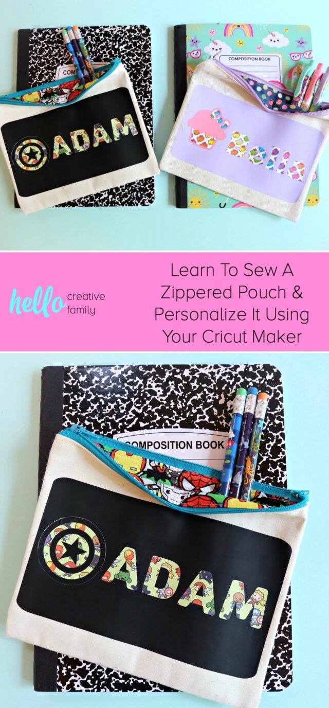 Learn how to sew a DIY Avengers Pencil Pouch or Hello Kitty zippered bag using your Cricut Maker to cut the fabric and customize the design! The perfect craft project for back to school! A quick and easy sewing project you'll refer back to again and again! #Sewing #BackToSchool #CricutMade #CricutCreated #Sponsored