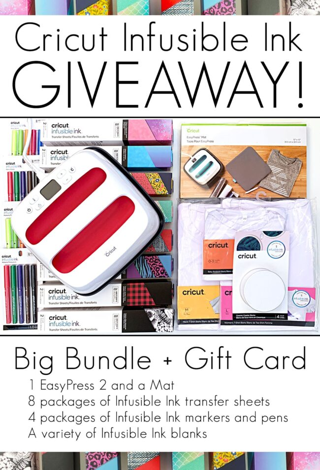 Cricut Infusible Ink Giveaway valued at $600 including a $200 gift card. Contest closes August 4th at 11:45pm MST, open to residents of the USA and Canada.  #Giveaway #Win #Cricut #CricutMade #InfusibleInk