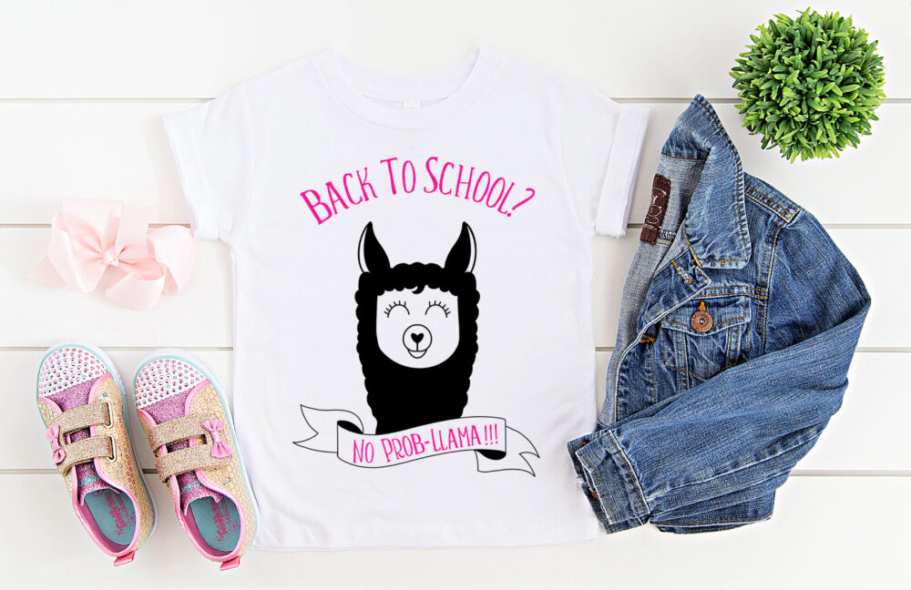 "Whether you are looking for a DIY first day of school outfit, or an awesome handmade teacher gift-- we've got you covered!  We're sharing 16 free back to school svgs including our own ""Back to school? No Prob-llama"" cut file!  So pull out those Cricuts and Silhouettes and craft up an easy project! #Cricut #Silhouette #BackToSchool #Teacher #Llama #FreeSVG #SVG"