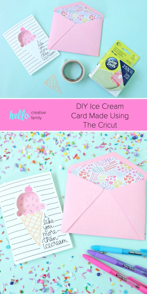 DIY an Ice Cream Card using your Cricut Maker or Cricut Explore! An easy handmade card that's perfect for birthdays and loved ones with a sweet tooth! #Cricut #CricutMade #PaperCrafts #IceCream