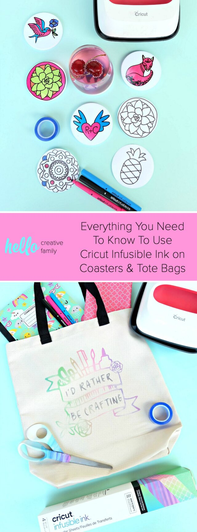 We're sharing all the tips and tricks that you need to know to use Cricut Infusible Ink! Follow along as we share step by step instructions, as well as handy hints for making Infusible Ink Coasters and an awesome rainbow crafting tote bag! #CricutMade #handmade #infusibleink #sponsored