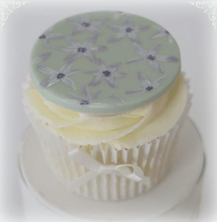 Hand painted flower cupcake