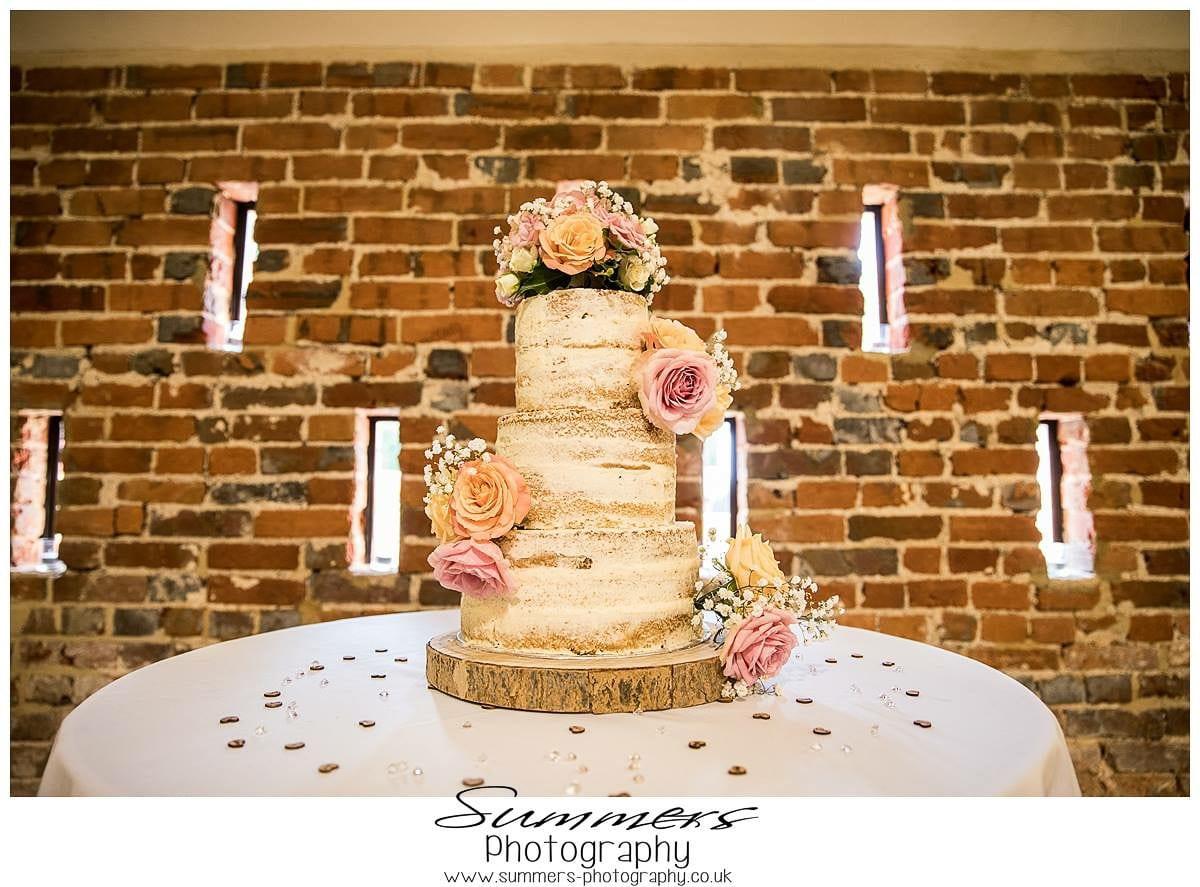 semi naked wedding cake wokingham