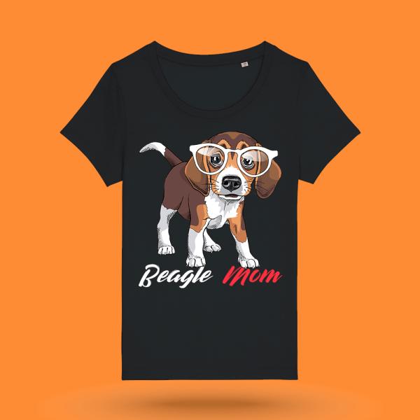 "Tricou negru femei - ""Beagle Mom"""