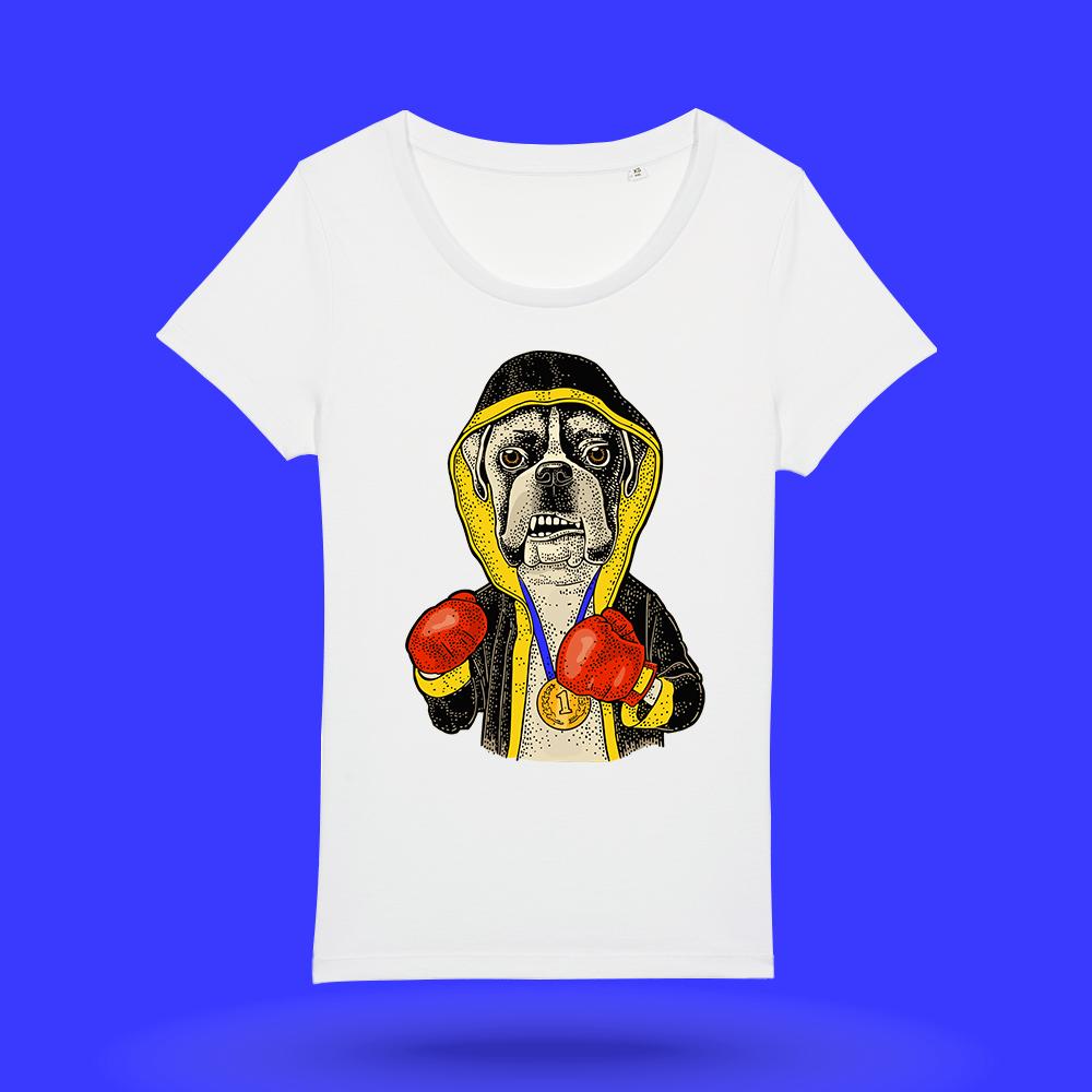 Tricou-alb-personalizat-femei---tricouri-personalizate-cu-caini---tricou-boxer---Hello-Doggie