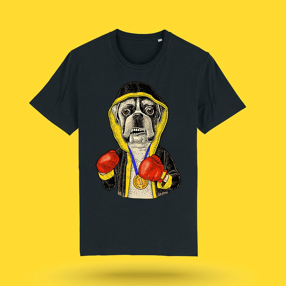 Tricou-negru-personalizat-Boxer---Tricou-caini-boxer-barbati---Hello-Doggie