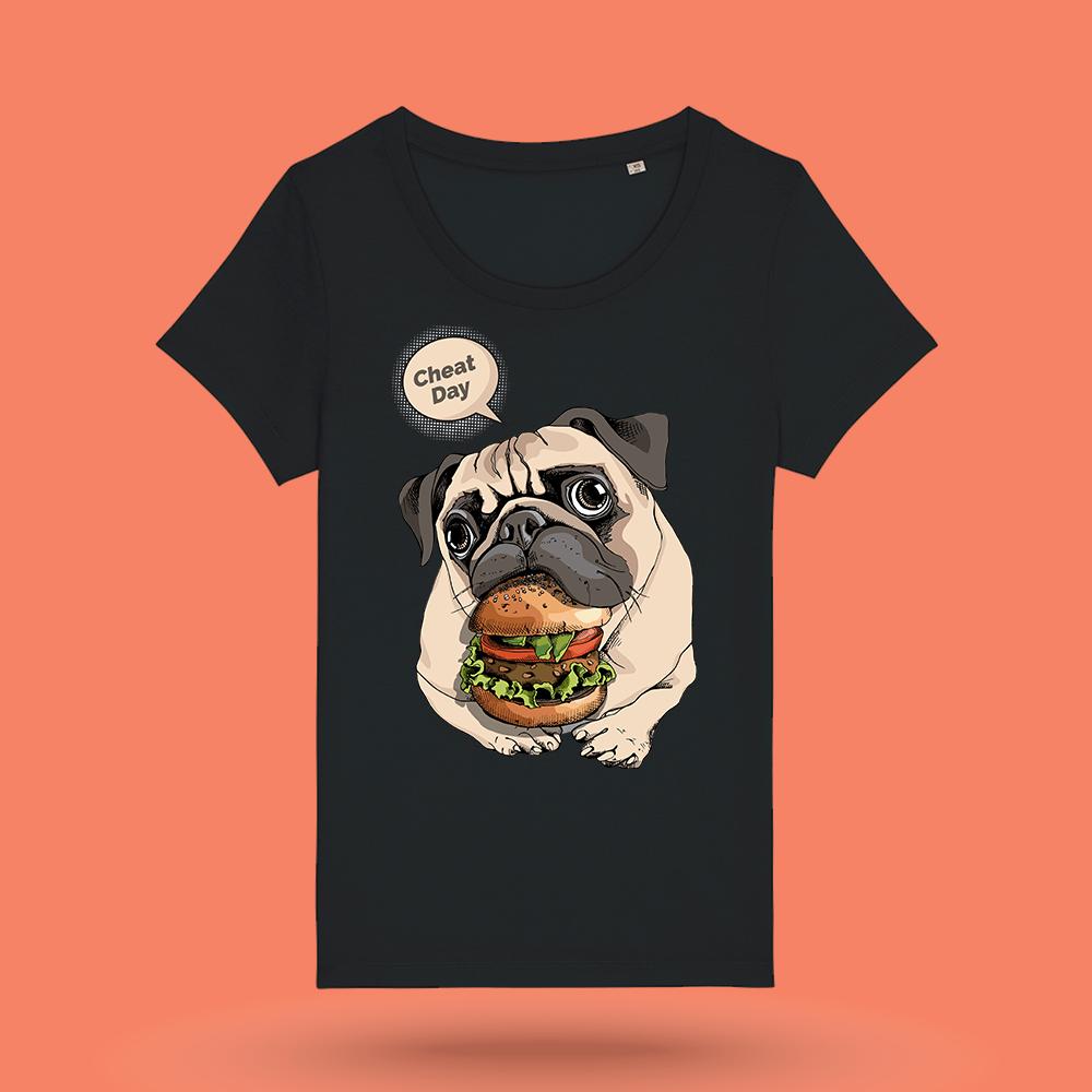 """Tricou negru femei - """"Burger"""""""
