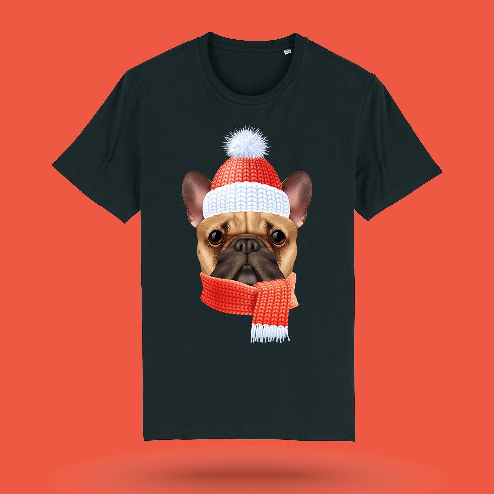 Tricou-personalizat-negru-barbati-Craciun-tricou de craciun-Winter-Bulldog
