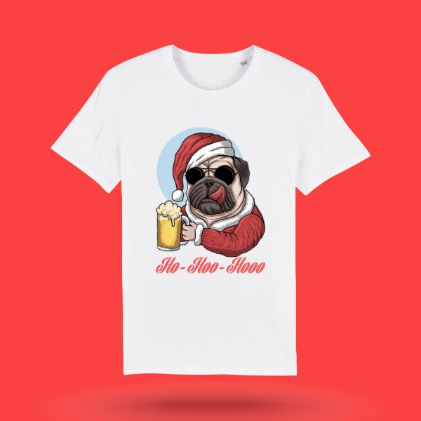 Tricou-personalizat-alb-barbati-Craciun-tricou de craciun-Mos Craciun-pug
