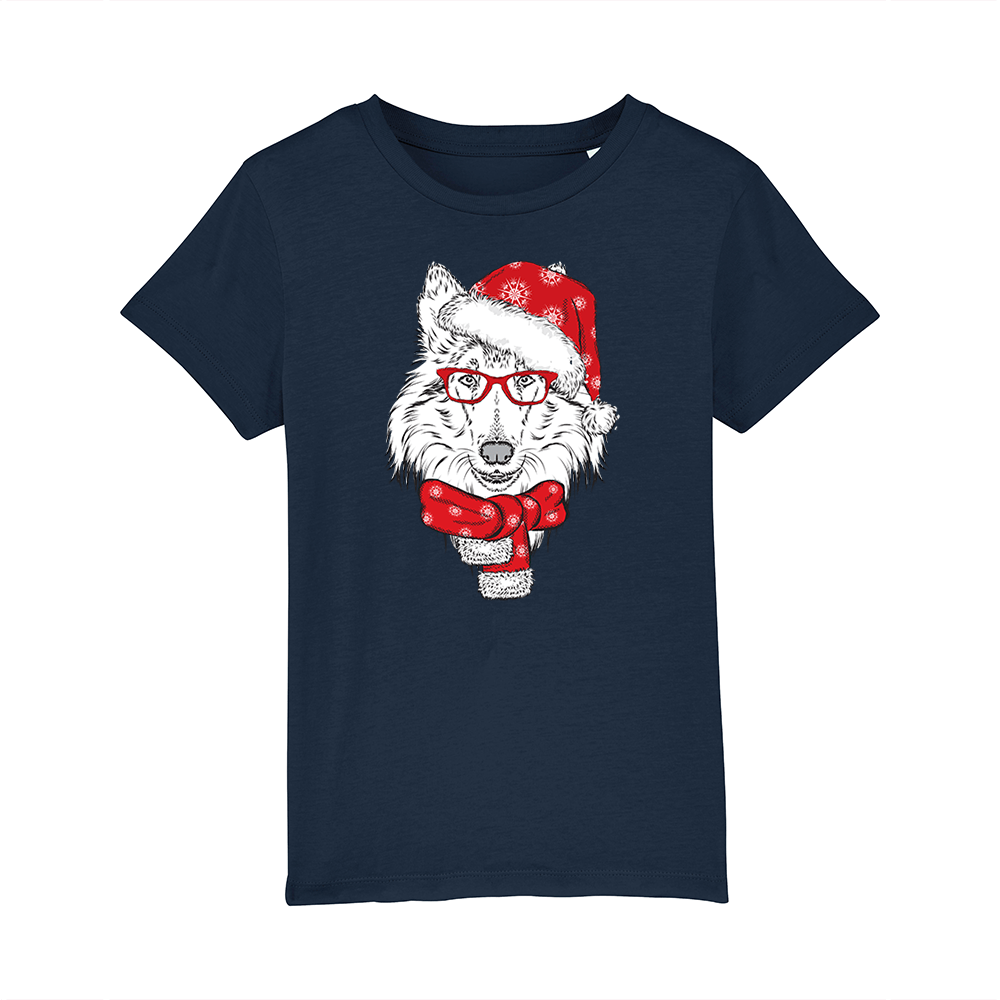 tricou-personalizat-bleumarin-copii-Craciun-mos craciun-rough-collie