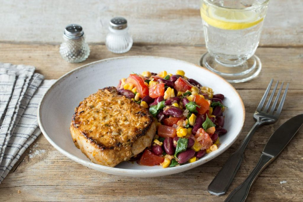 healthy bean recipes-HelloFresh-pork-chops