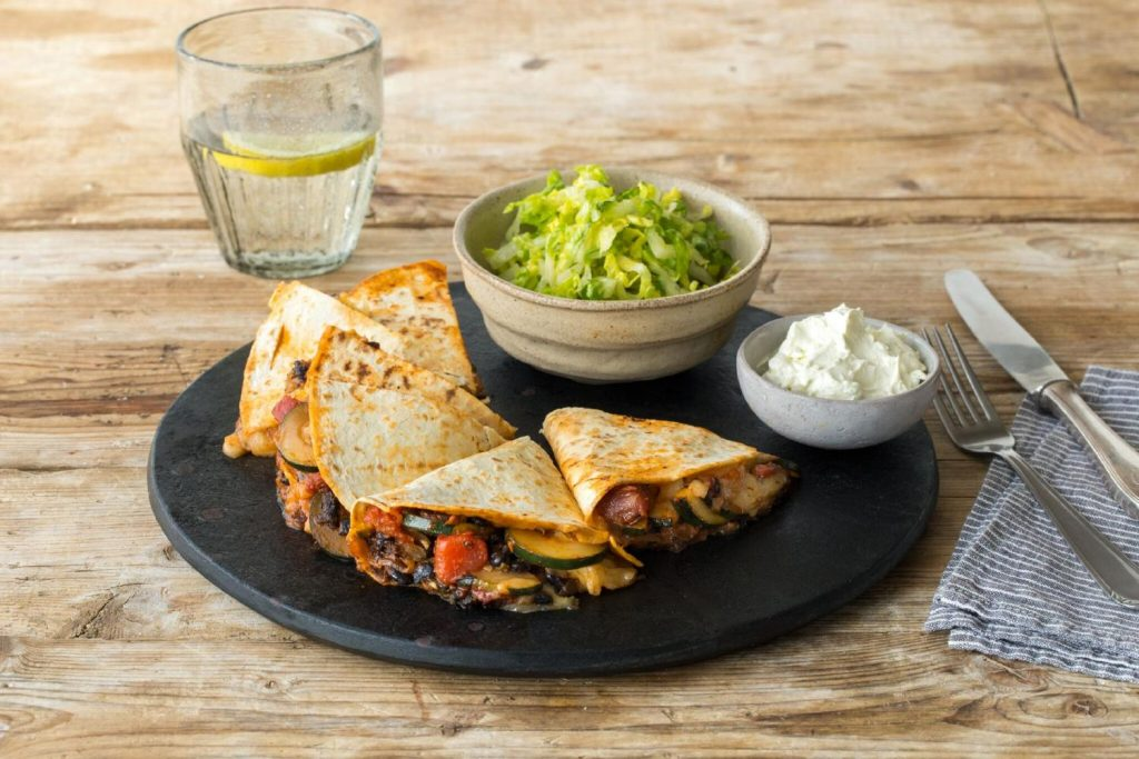healthy bean recipes-HelloFresh-quesadillas