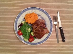 Lamb Chops with Sweet Potato Mash, Salad and Onion Gravy