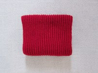 knitted red scarf