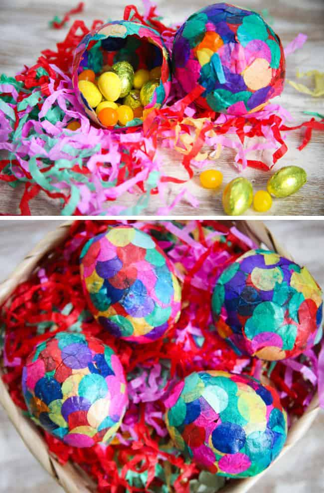 How to Paper Mache Easter Eggs with Confetti