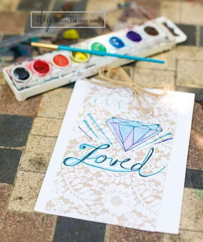 DIY 'I am loved' diamond cards