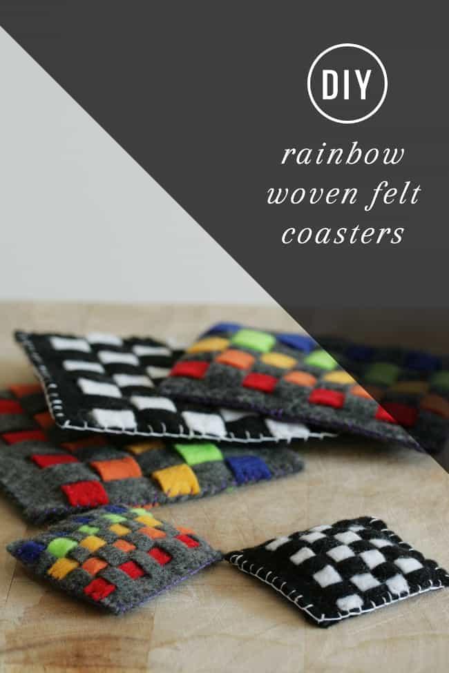 DIY Rainbow Woven Felt Coaster   Hello Glow